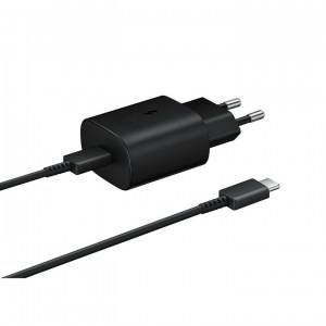 Samsung PD 25W Wall Charger EP-TA800XB black side with cable